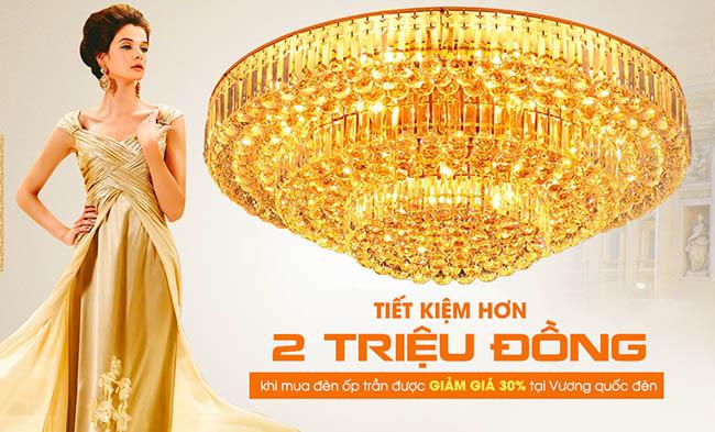 Tiết kiệm hơn 2 triệu đồng khi mua đèn ốp trần được giảm giá 30% tại Vương Quốc Đèn