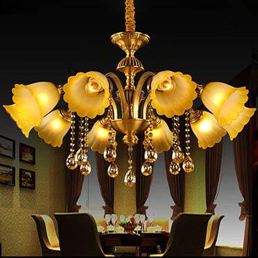Đèn chùm đồng hoa thủy tinh ATL9231
