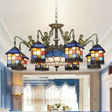 Đèn chùm phòng khách phong cách Địa Trung Hải hoài cổ YB204