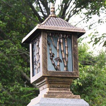 Đèn trụ cổng cổ điển họa tiết cây tre ROL114
