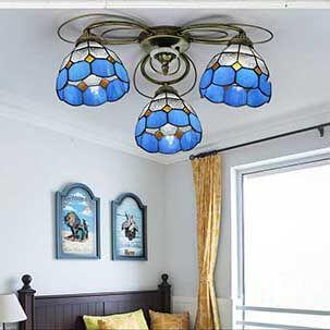 Đèn ốp trần phòng khách hình hoa xanh tinh tế YB404
