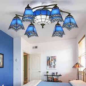 Đèn ốp trần trang trí màu xanh phong cách Địa Trung Hải YB406