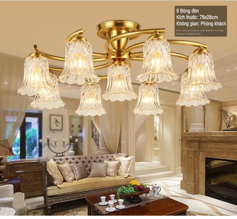 Những mẫu đèn ốp trần phòng khách thịnh hành nhất hiện nay
