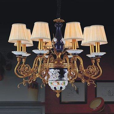 Đèn chùm đồng chao gốm phong cách đồng quê WND6035-8