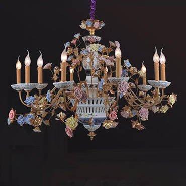 Đèn chùm đồng nến hoa hồng WND8001-10