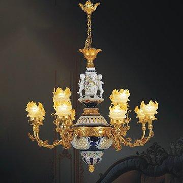 Đèn chùm đồng phòng khách WND8017-12C