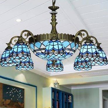 Đèn chùm trang trí cao cấp màu xanh dương YB205