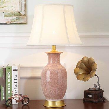 Đèn bàn gốm màu hồng cổ điển YLM BL-T-0016