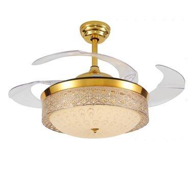Đèn quạt trần pha lê mạ vàng sang trọng JC8306