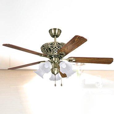 Quạt trần có đèn chùm cánh gỗ FG F038