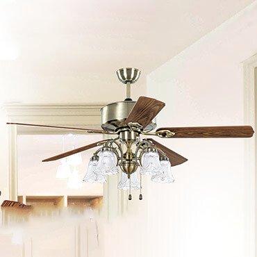Quạt trần đèn cánh gỗ có đèn chùm FG F011
