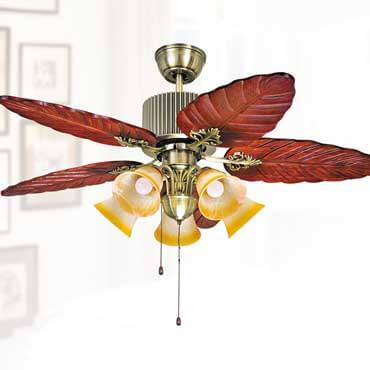 Quạt trần đèn cánh lá gỗ sang trọng FG F058
