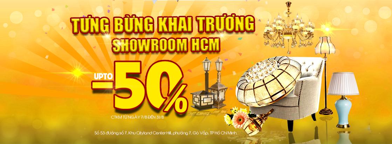 Tưng bừng khai trương showroom Hồ Chí Minh, Vương Quốc Đèn sale up to 50%