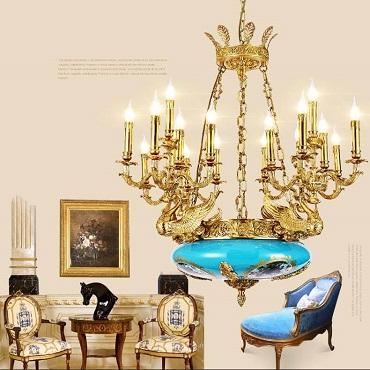 Đèn chùm đồng gốm tráng men nghệ thuật phong cách Italia ABR178